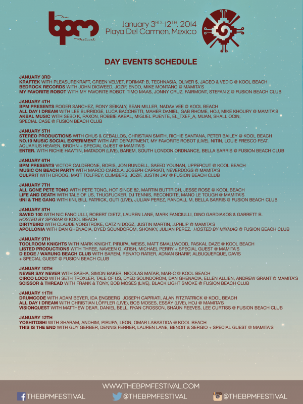 BPM Day Schedule